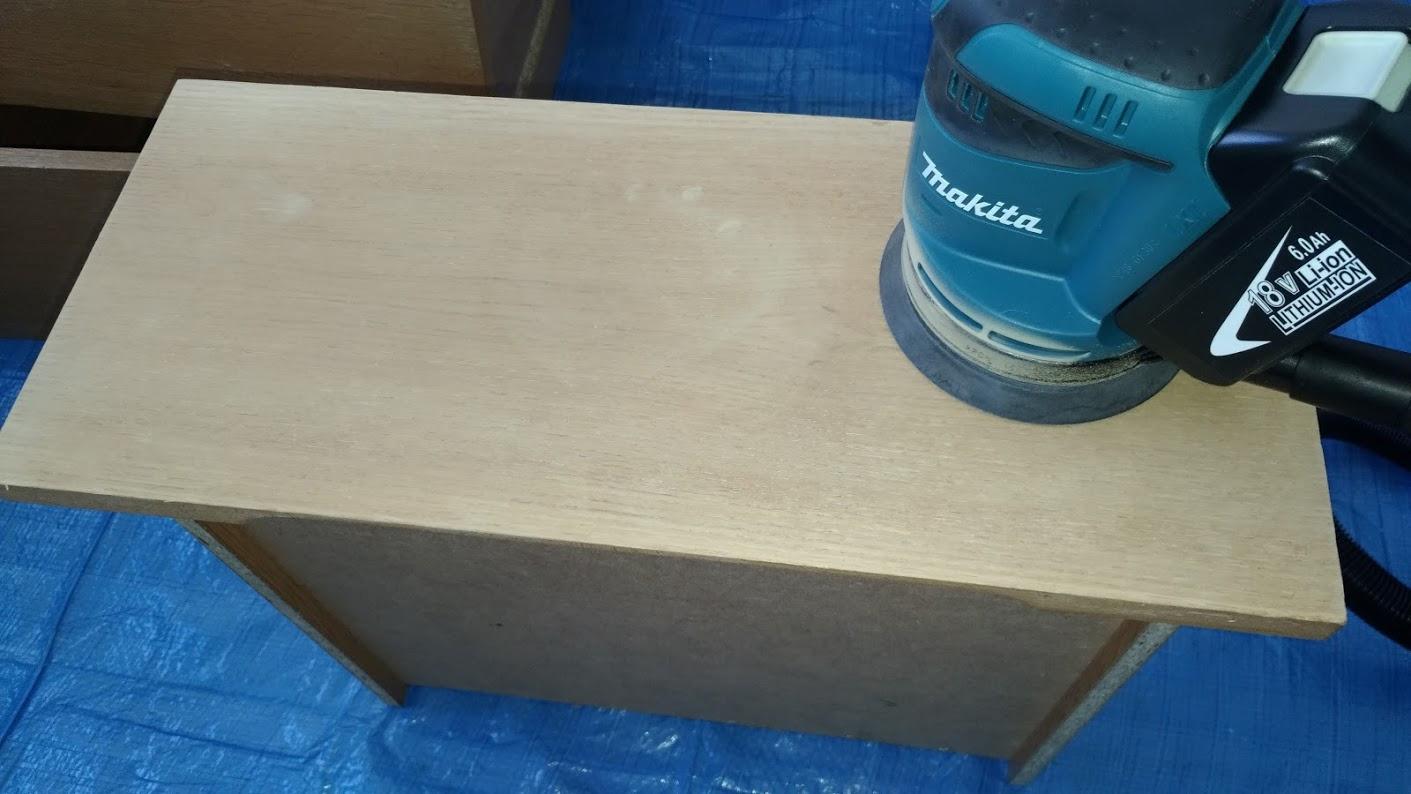 テレビボード塗装 オスモカラーウッドワックス ウォルナット エボニー -8-