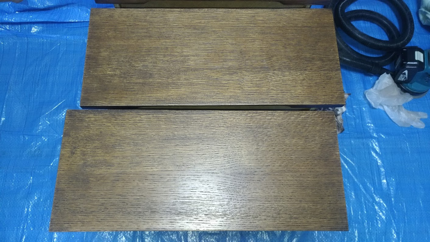 テレビボード塗装 オスモカラーウッドワックス ウォルナット エボニー -24-