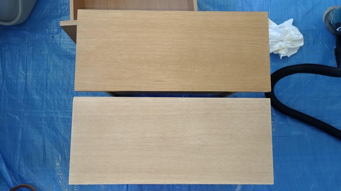 テレビボード塗装 オスモカラーウッドワックス ウォルナット エボニー -9-