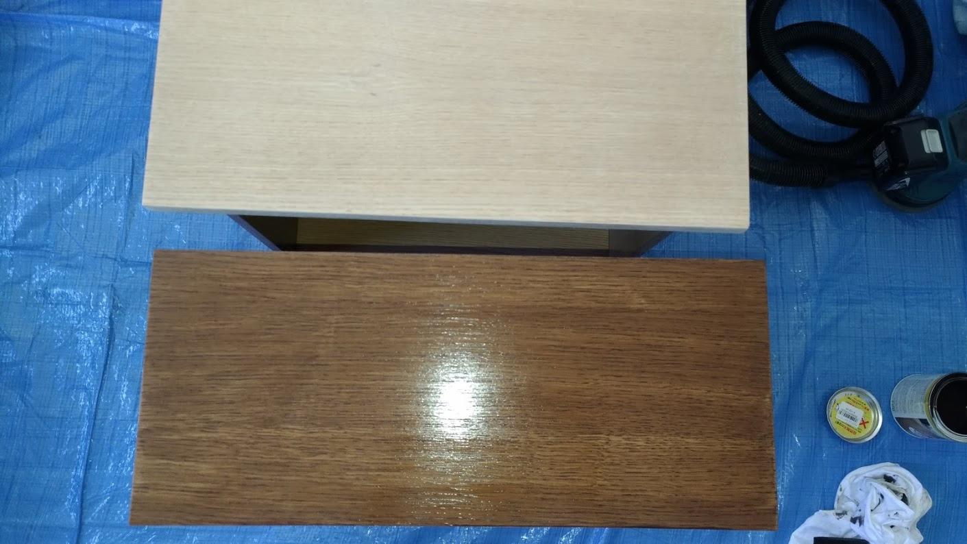 テレビボード塗装 オスモカラーウッドワックス ウォルナット エボニー -14-