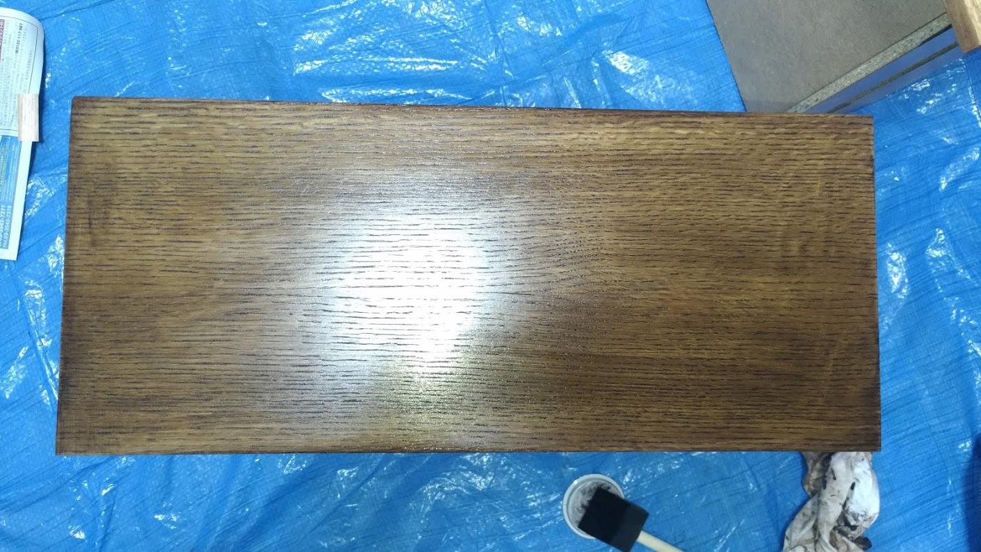 テレビボード塗装 オスモカラーウッドワックス ウォルナット エボニー -18-