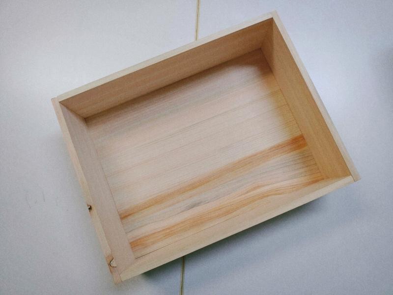 檜 集成材 木箱 小物入れ 未晒し蜜ロウワックス 塗装 -13-