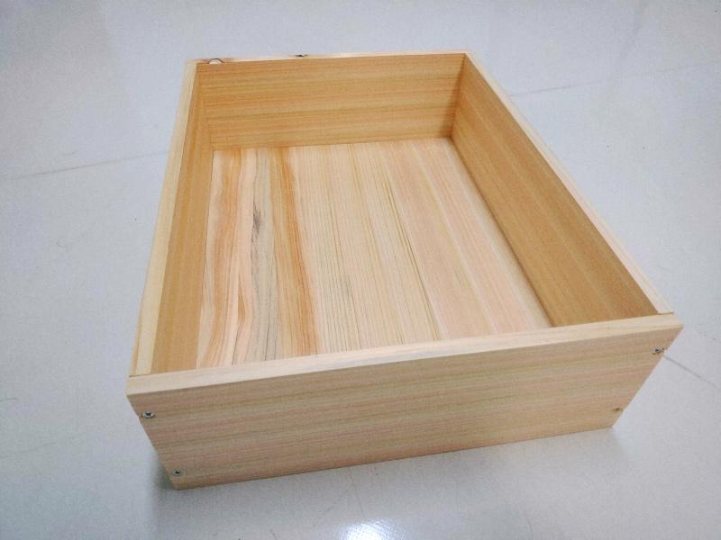 檜 集成材 木箱 小物入れ 未晒し蜜ロウワックス 塗装 -17-