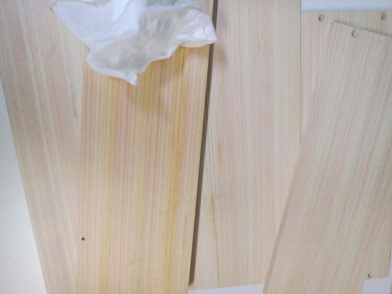 檜 集成材 木箱 小物入れ 未晒し蜜ロウワックス 塗装 -16-